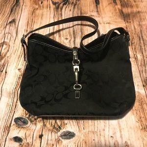 Coach signature SM black lock & latch handbag EUC